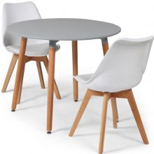 Toulouse Dining Set  - 90cms Round Grey Table & 2 White Chairs